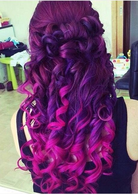 Light And Dark Purple With Pink Tips Cool Hairstyles Curly Hair Styles Hair Styles
