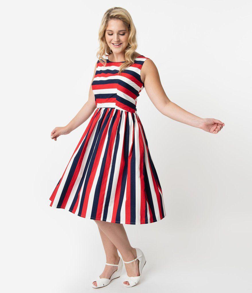 Plus Size Retro Style Red White Navy Blue Stripe Sleeveless Candice Swing Dress White Striped Dress Outfit Striped Dress Outfit Plus Size Dresses Canada [ 1023 x 879 Pixel ]