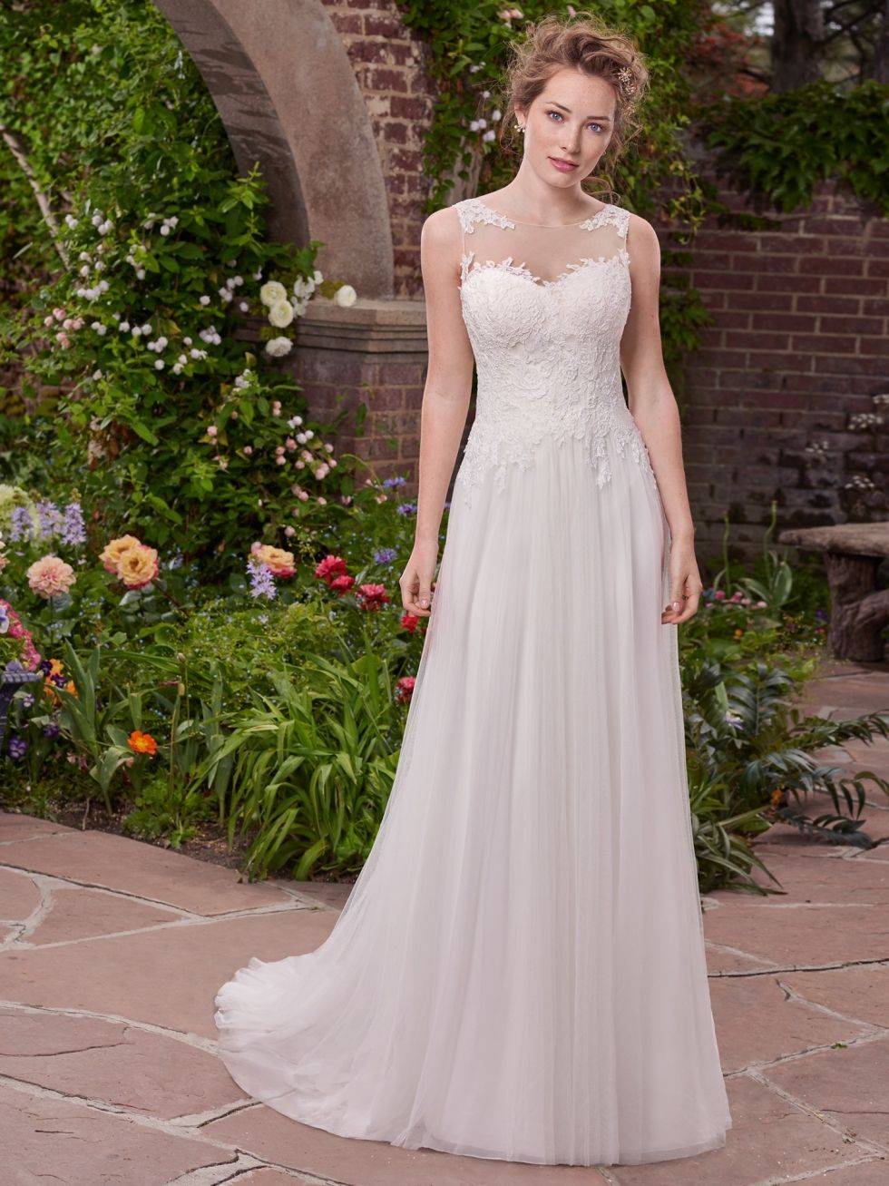maggie sottero wedding gown with lace bodice and english net skirt ...