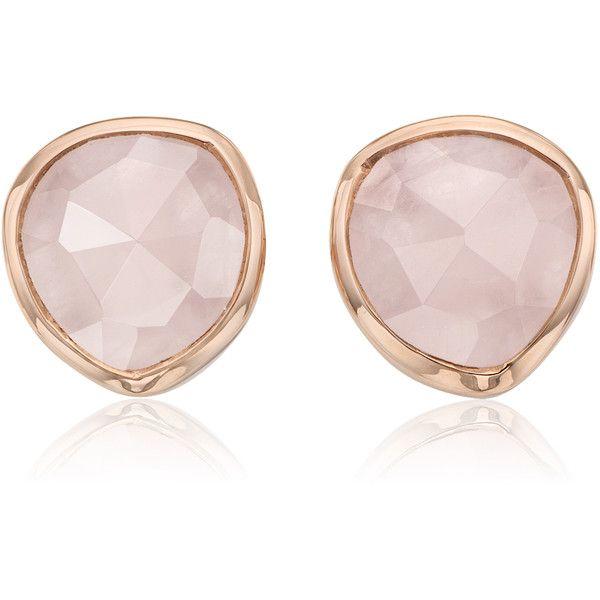 Monica Vinader Rose Gold Vermeil Siren Stud Earrings - Rose Quartz ($150) ❤  liked