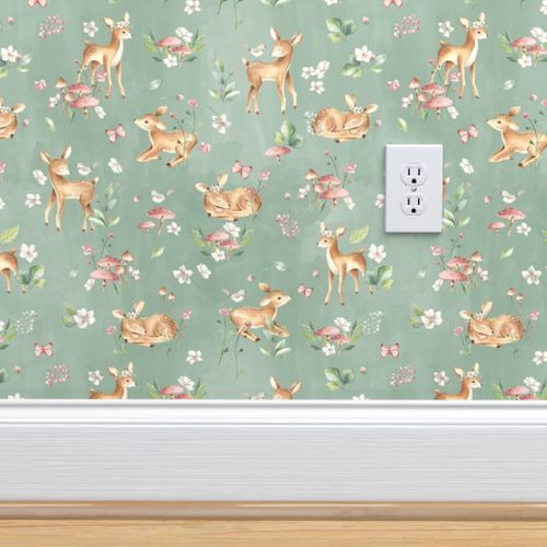 Wallpaper Large Baby Deer with flowers green / Woodland