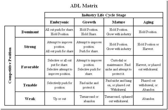 ADL model (Arthur Doo Little) for competitive analysis Business - sample competitive analysis
