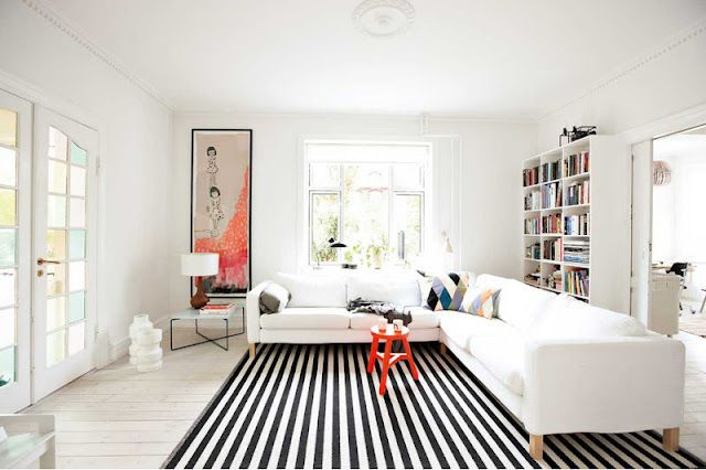 Striped Rug Clean White Room Small Pops Of Color Home Small