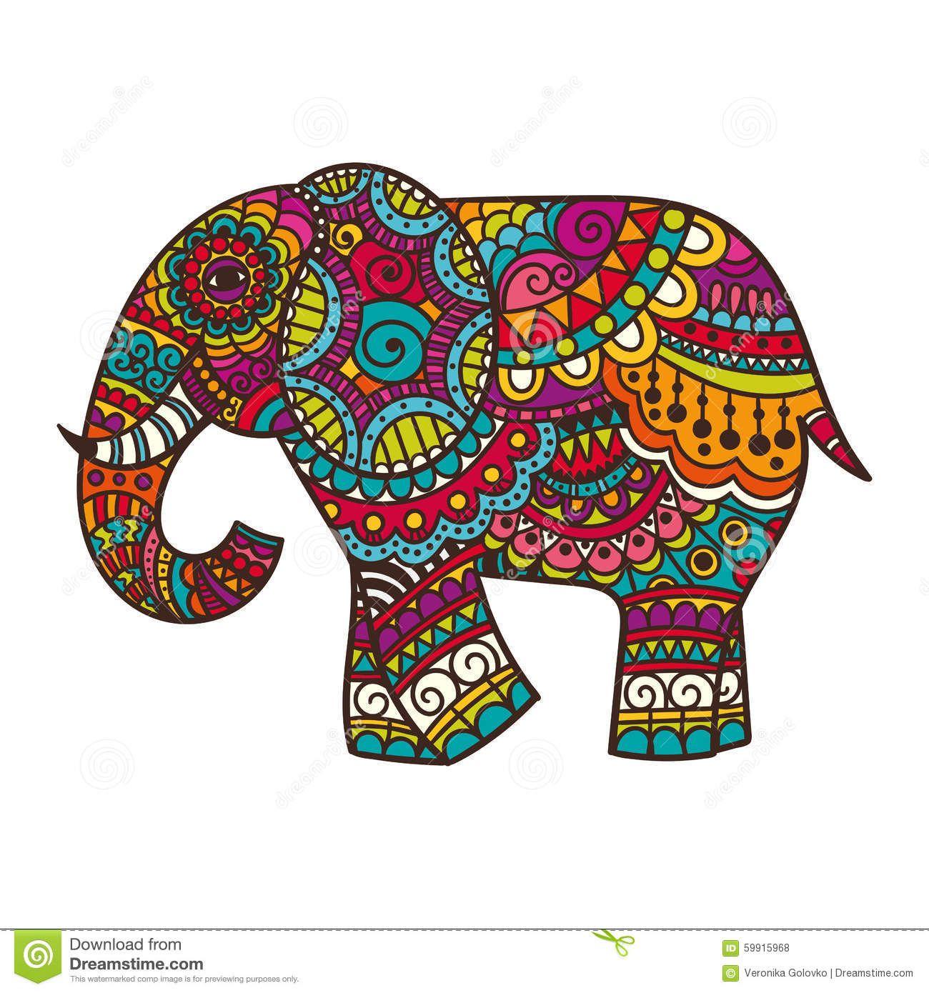 Decorative Elephant Illustration Stock Vector - Image: 59915968