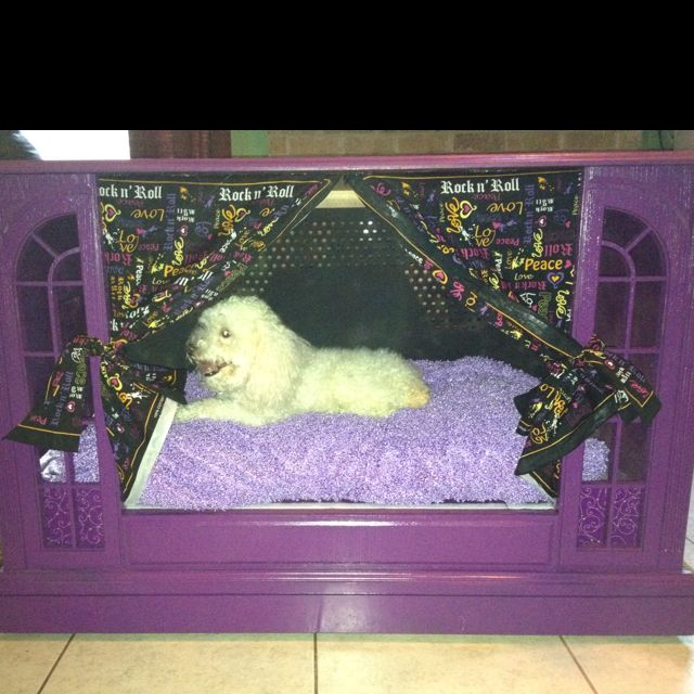 Old TV console repurposed into a dog bed/crate.
