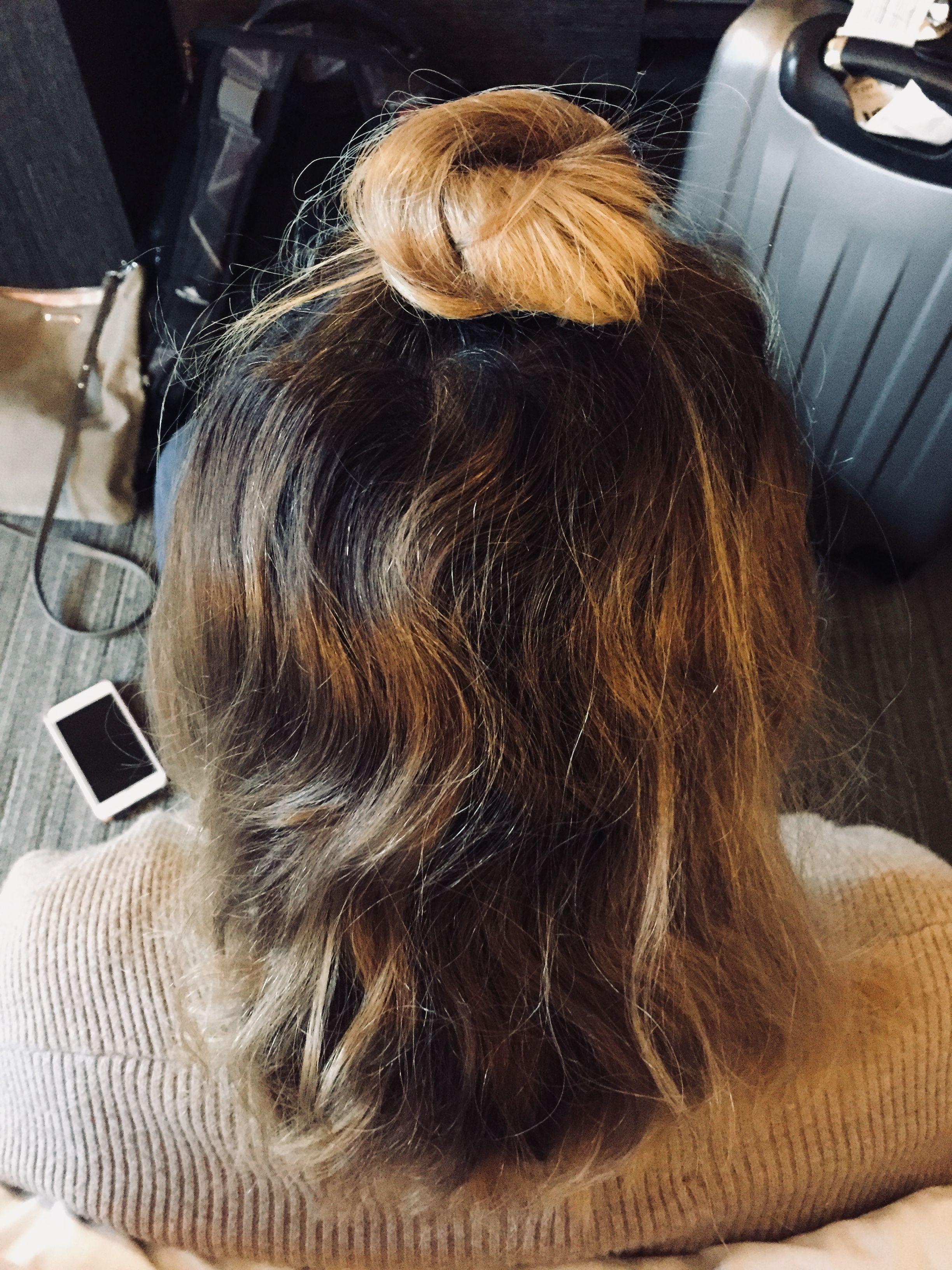 Half up half down bun. Short hair styles | Short hair bun ...