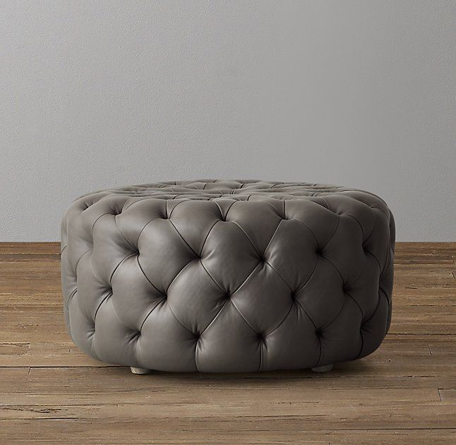 Linden Tufted Round Leather Ottoman Round Leather Ottoman