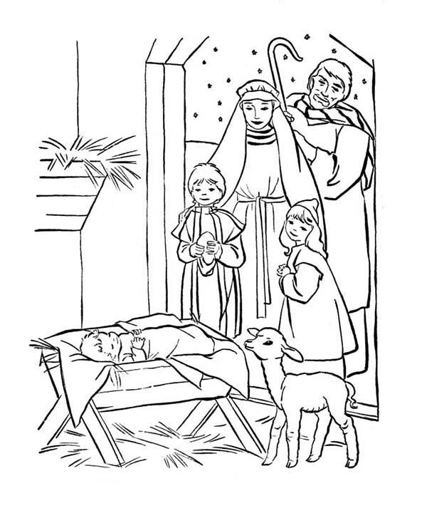 Baby Jesus, : Depiction of Baby Jesus Nativity Coloring Page ...