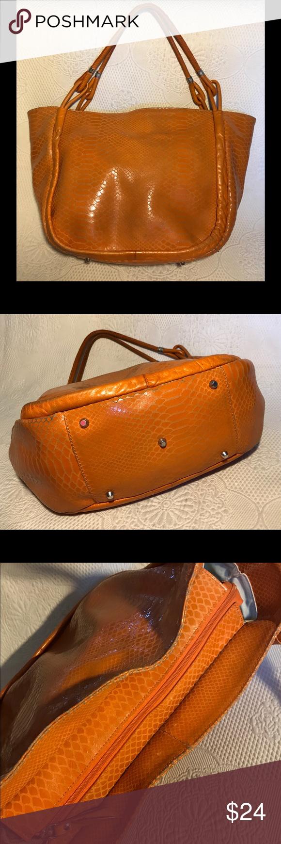 1df32cefcf Roberta Gandolfi Orange snake print leather bag Roberta Gandolfi orange  leather handbag embossed with a snakeskin