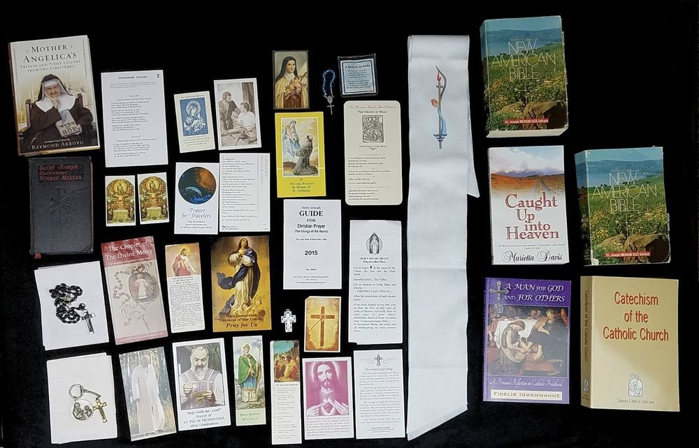 Lot of Catholic Prayer Cards Rosary Missional Catechism