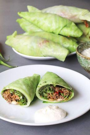 Koolburrito's met sla en pittig gehakt #koolhydraatarmerecepten