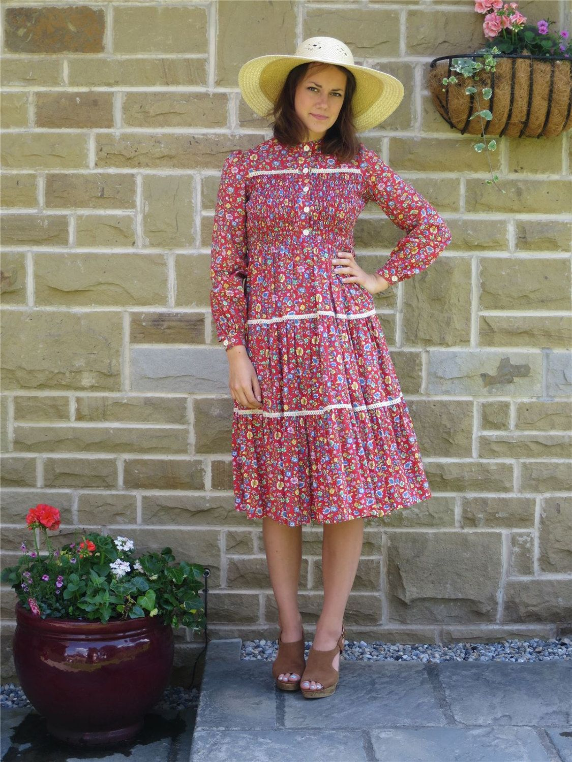 Original 1970s Red Ditsy Print Tiered Cotton Boho Dress UK 10 by REVIVAL4VINTAGE on Etsy