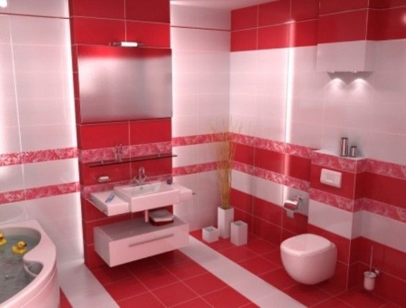 Bathroom Decor Ideas Red White