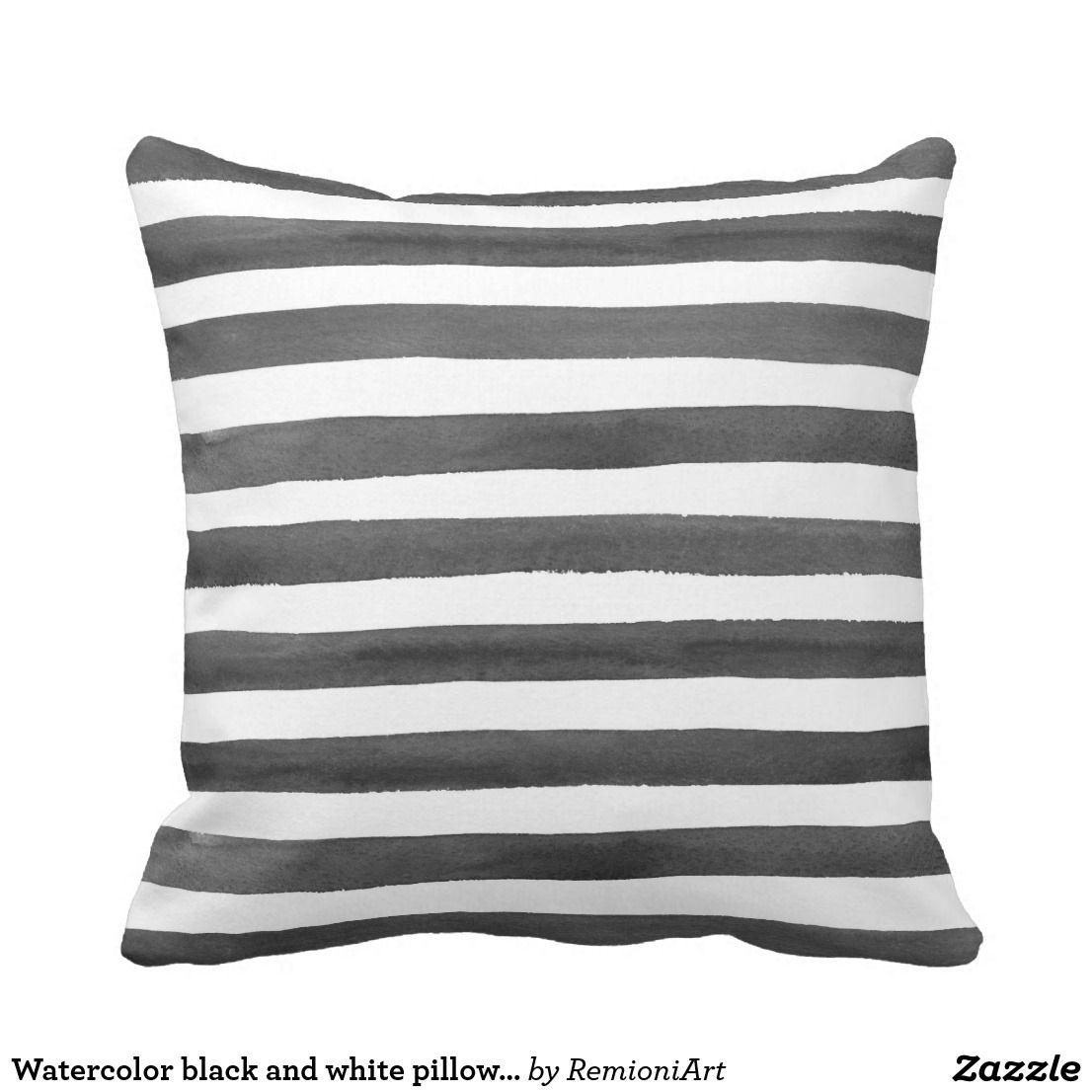 Watercolor Stripes Modern Black And White Striped Throw Pillow Zazzle Com Throw Pillows Pillows Stripe Throw Pillow