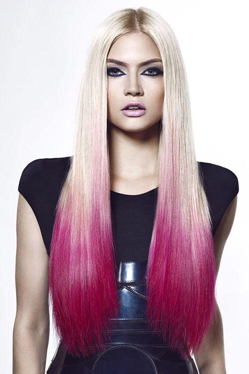 Platinum Blonde Hair Color With Purple Red Dip Dye Platinum