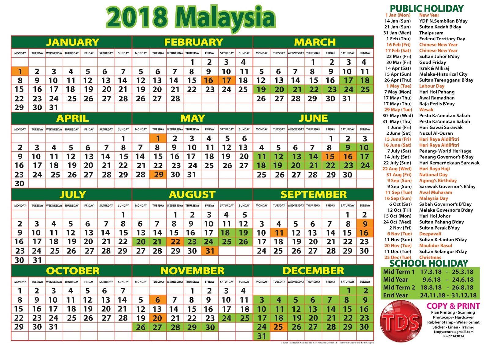 September 2018 Calendar Malaysia With Holidays Calendar Malaysia Calendar 2018