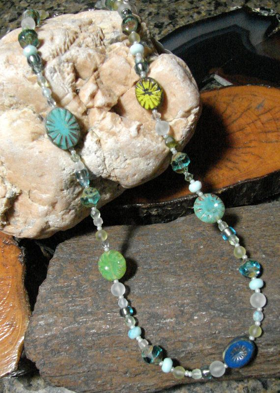 Czech Glass Chalcedony and Austrian Crystals Sea by IntoTheWild, $36.00