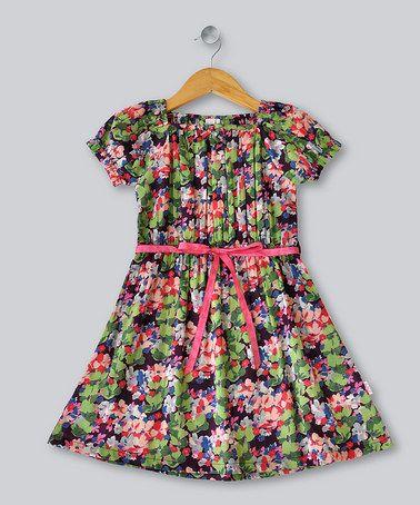 Take a look at this Black Araya Short-Sleeve Dress - Toddler & Girls by Frangipani Kids on #zulily today!