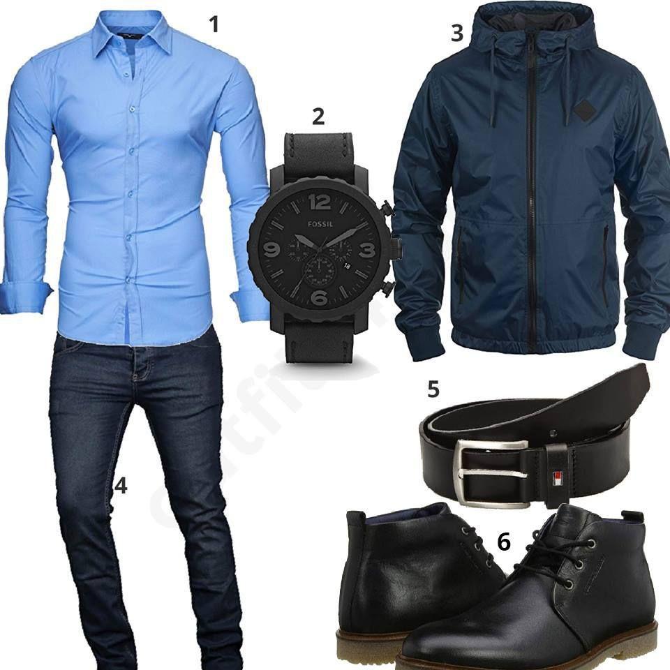 Blau Schwarzes Herrenoutfit mit Hemd, Jeans und Uhr   Herren