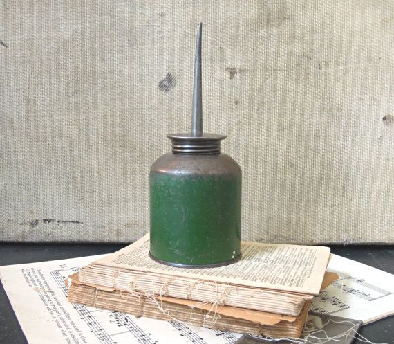Vintage Industrial Chippy Green Oil Can by AloofNewfWhimsy