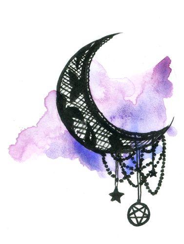 Moon lace tatoo tatouage aquarelle tatouage et - Dessin de lune ...