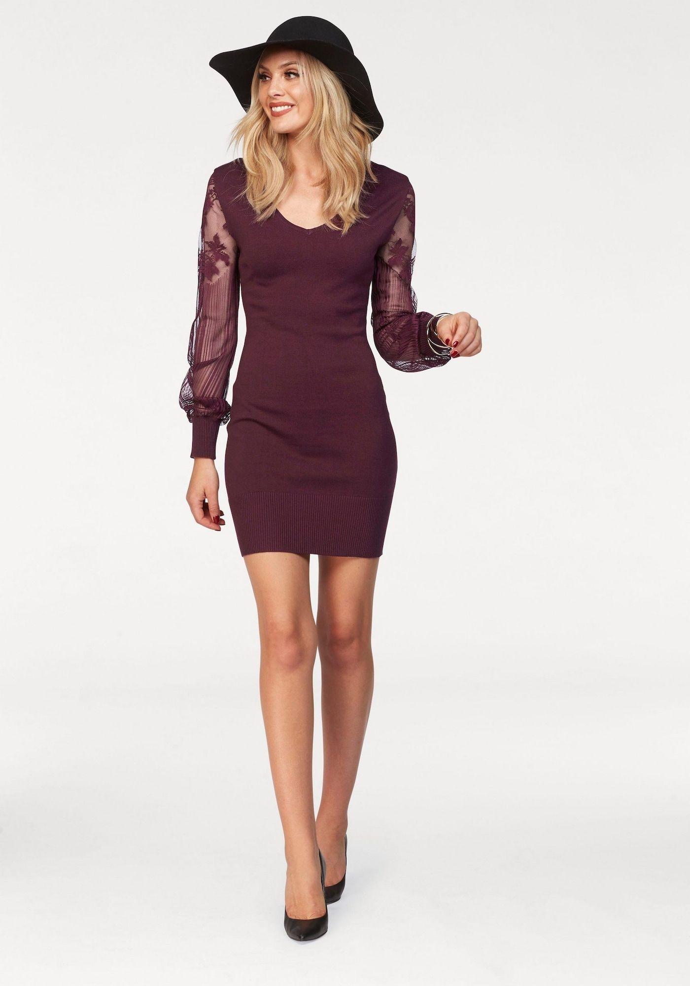 melrose kleid damen, weinrot, größe 36 | kleider, strickkleid