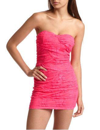 Neon Lace Tube Dress