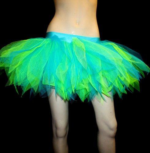 Neon Blue Green 7 Layers Tutu Skirt Hen Party Night Out Halloween Mermaid UV | eBay
