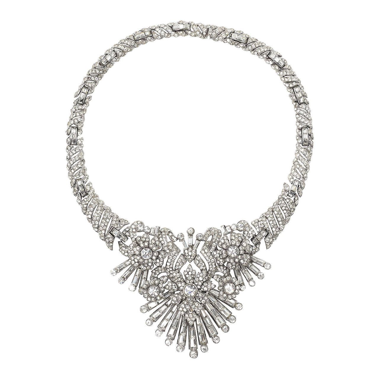 faux pin diamond mazer magnificent deco rare art necklace by