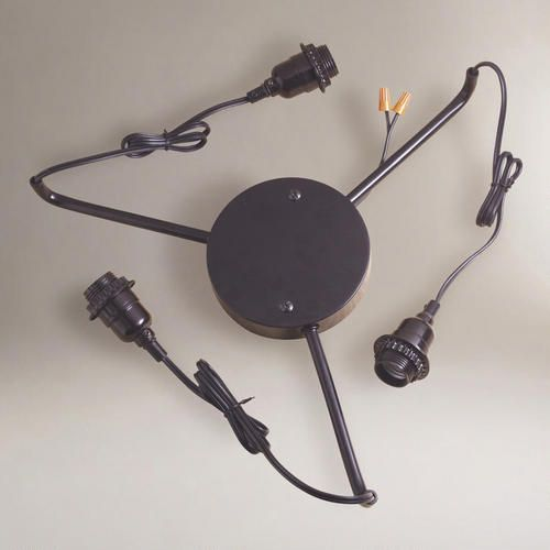 Black 3-Arm Electrical Ceiling Hardwire Kit