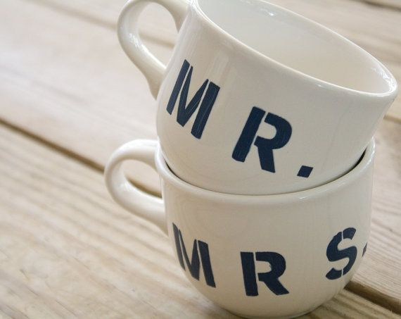 Mr and Mrs Mugs  Hand Painted by BexleyPlace on Etsy, $14.50