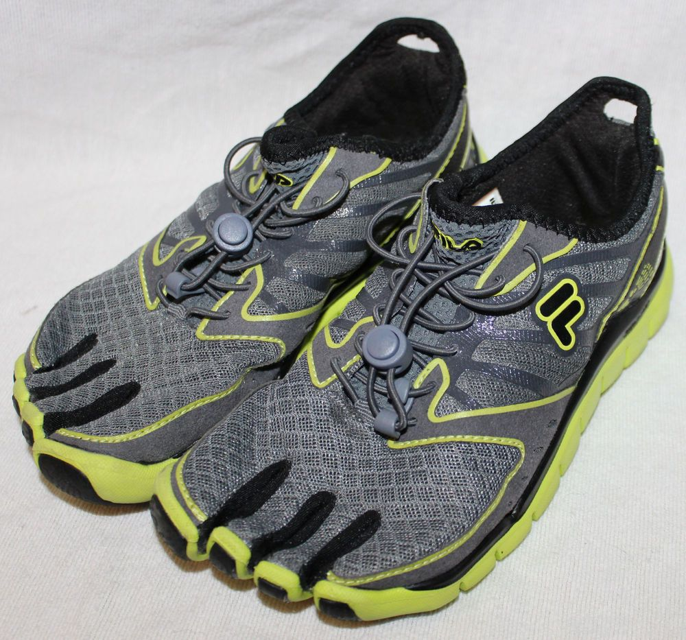 Fila Skele Toes Skeletoes Amp 4.5 Gray Lime Green Five Fingers Tennis Shoes