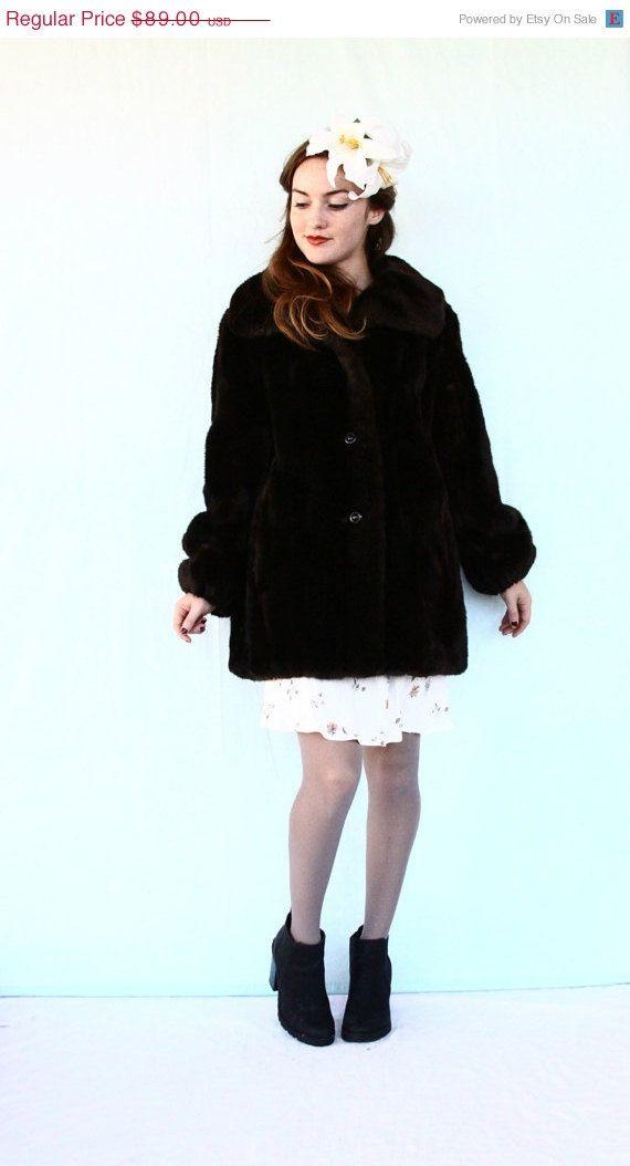 30% OFF SALE 60s faux fur coat / brown vegan by aLaPlageVintage