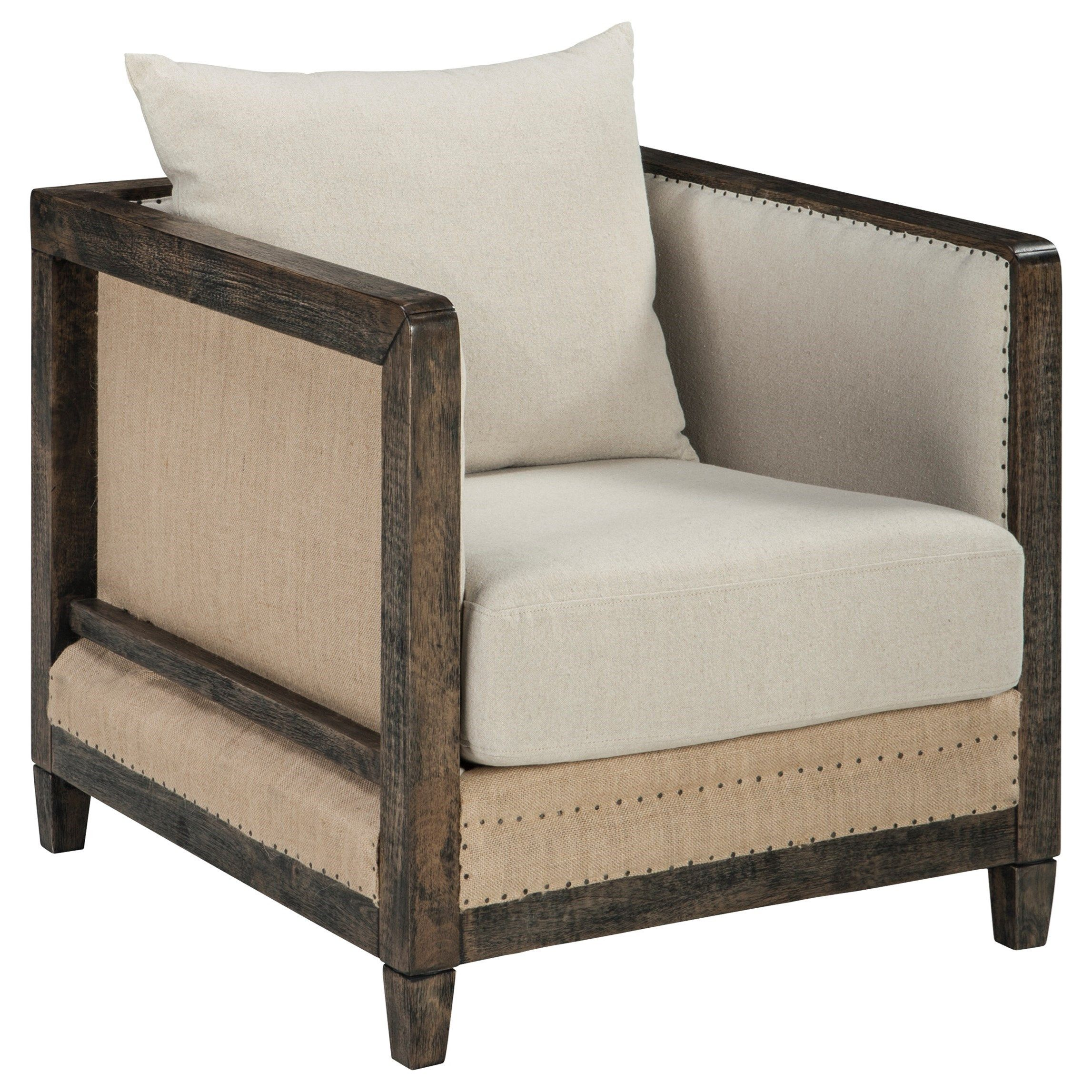 Copeland Deconstructed Style Linen Fabric Accent Chair With Wood