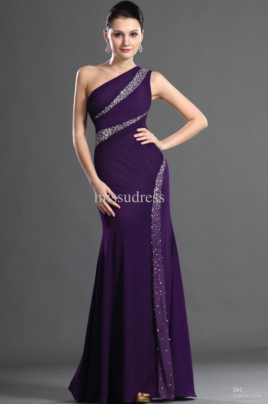 Purple one shoulder sheathy beading chiffon fabric long