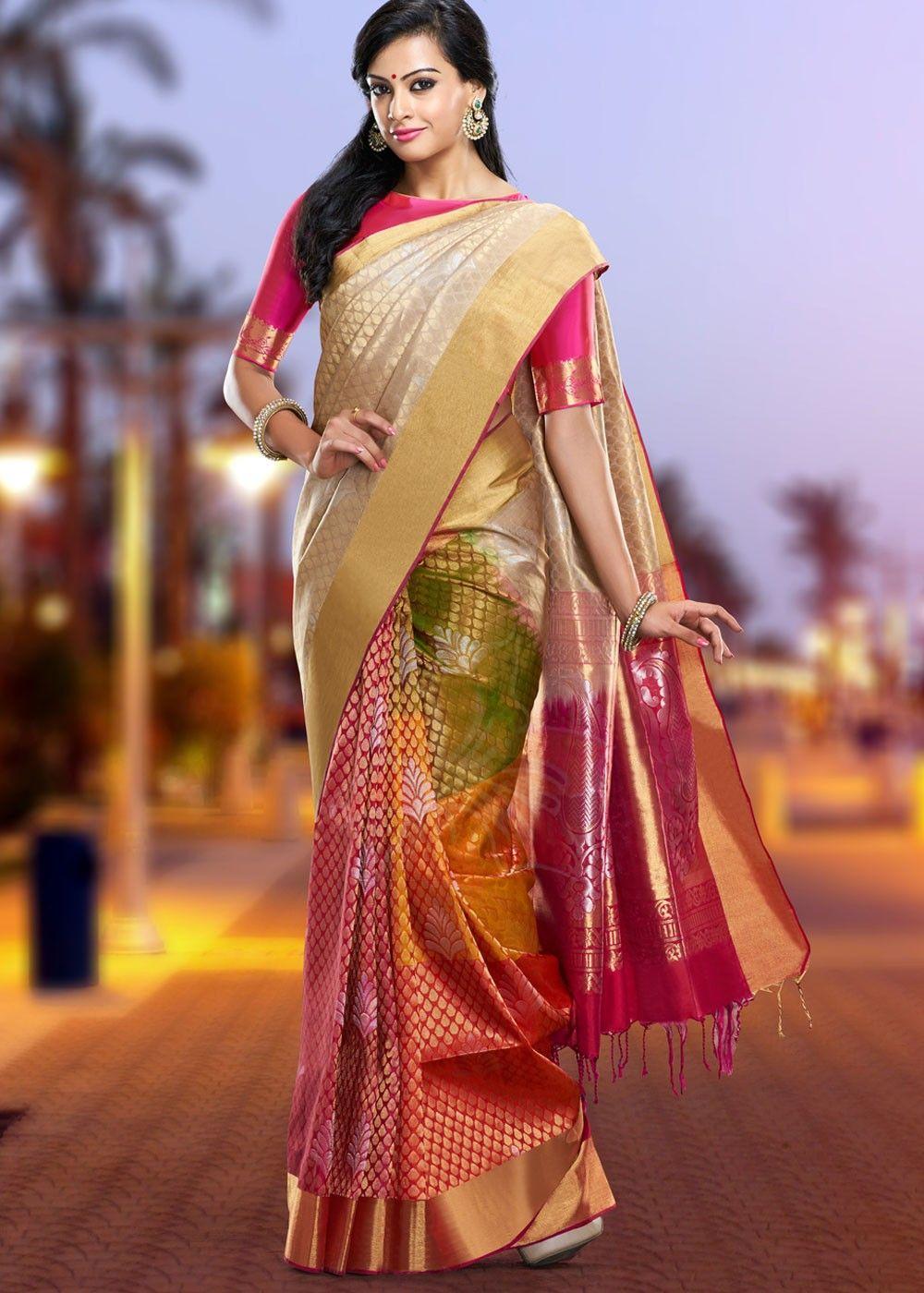 dress for women indian saree Pure Two tone Dolla silk saree and blouse for women sari,wedding saree,designer saree,sari saree dress