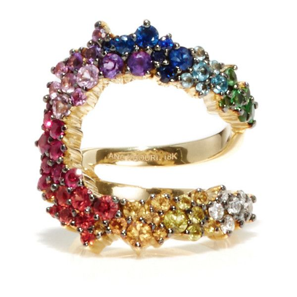 Ana Khouri Multicolor Mirian Ring (21.275 BRL) ❤ liked on Polyvore featuring jewelry, rings, colorful rings, 18k ring, multicolor jewelry, 18k jewelry and multicolor ring