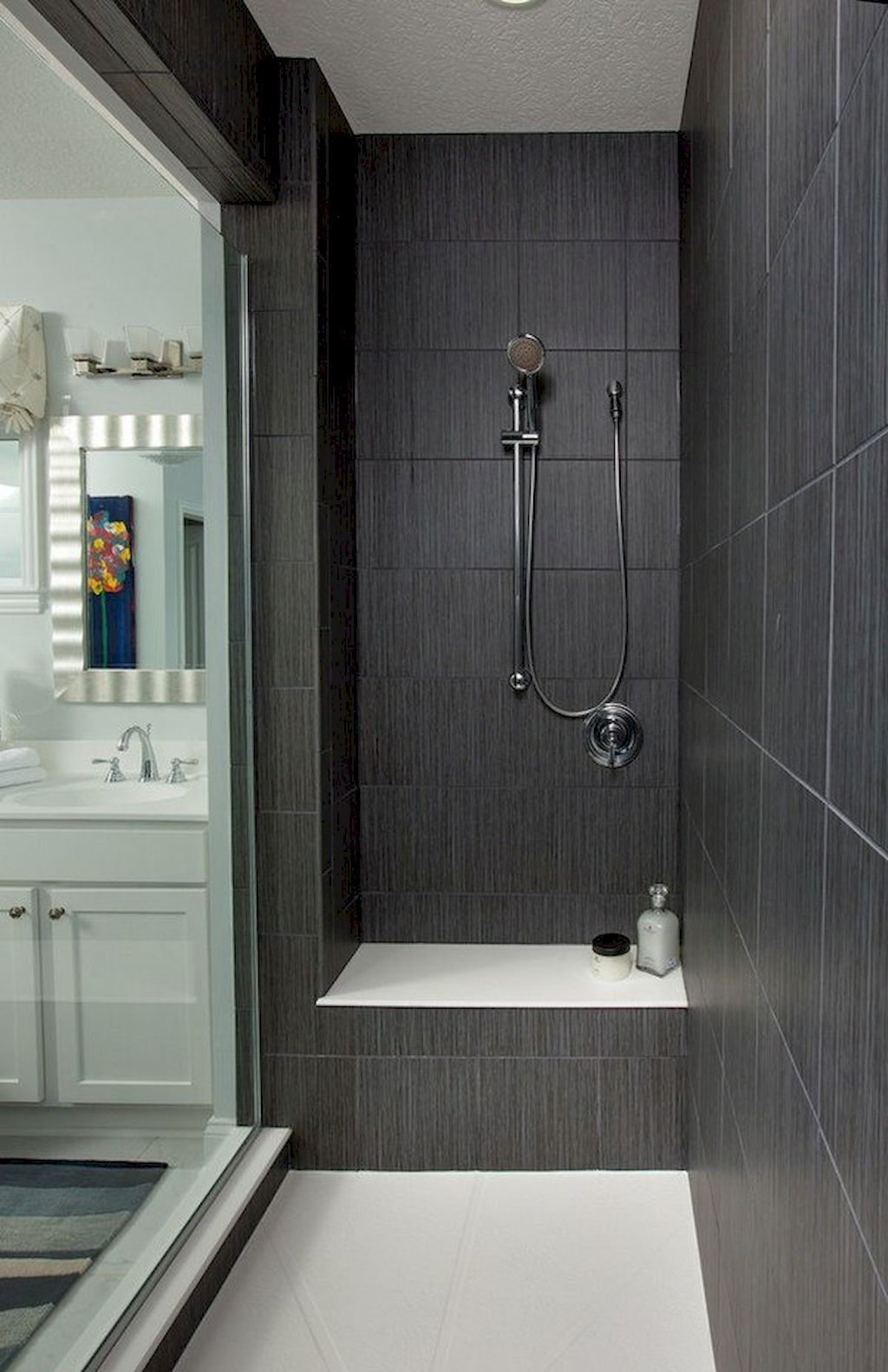 120 Stunning Bathroom Tile Shower Ideas Bathroomtileshowers With Images Dark Tile Shower Bathroom Shower Tile Large Shower Tile