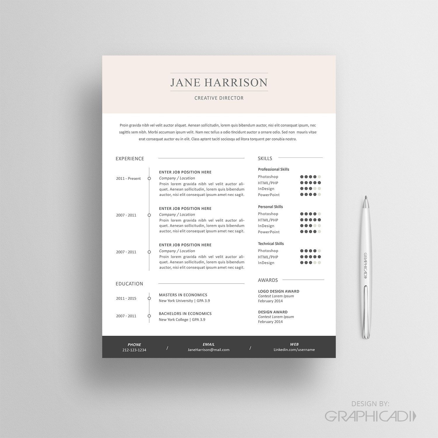 Resume Template  Cv Template And Cover Letter  Reference Page By