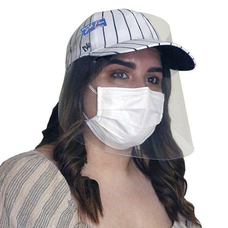 Bio Safe Face Shield For Baseball Cap Etsy Baseball Cap Face Shield Trending Outfits