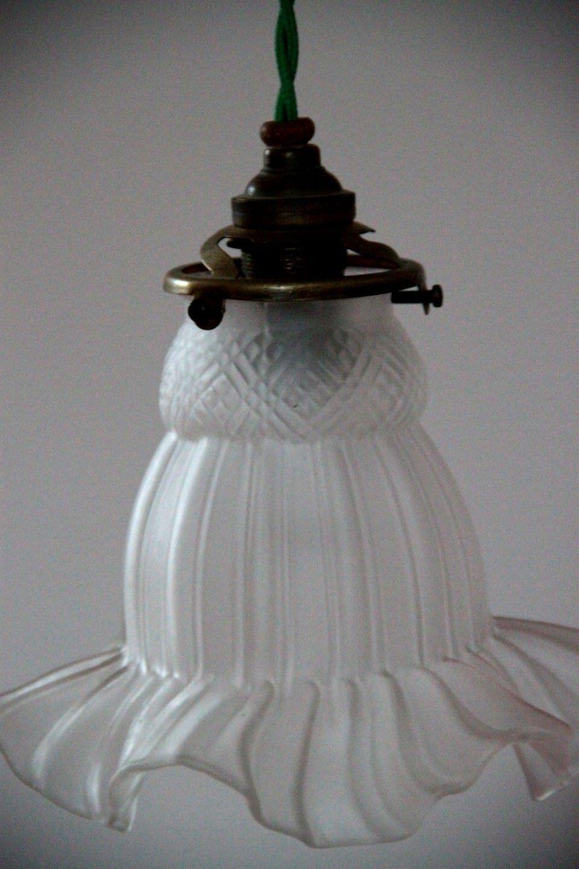 TULIPE, lustre suspension ancien abat jour en verre | Abat