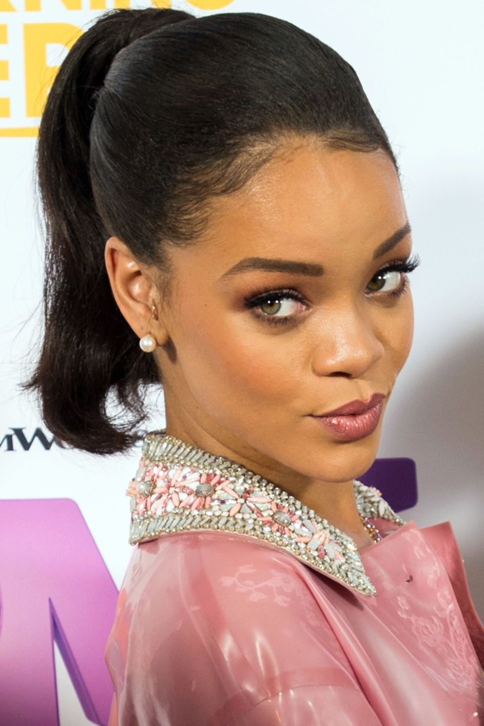 Rihanna puckers for the camera in a retro take on the Fresh Face style. Get the look at: http://bit.ly/BookGLAM