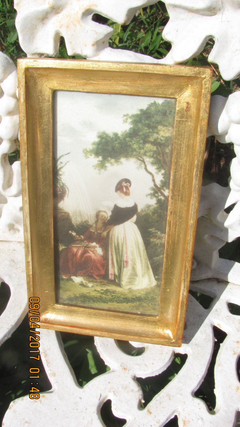 Reduced vtg italian wood framed victorian ladies outdoor garden reduced vtg italian wood framed victorian ladies outdoor garden setting print shabby gold tone picture frame jeuxipadfo Images