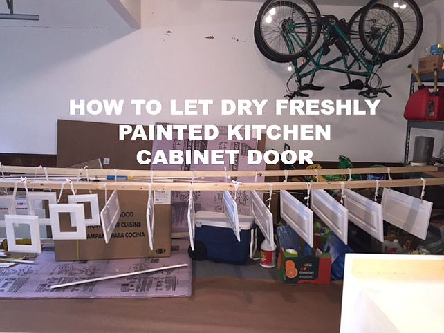 How To Spray And Let Dry Freshly Painted Kitchen Cabinet Door No