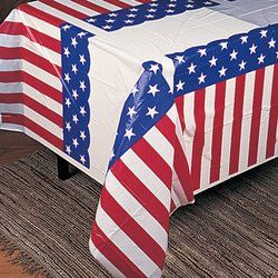 USA Plastic Tablecover America Stars /& Stripes Table Cloth