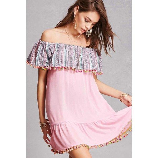 483bc880230e Forever21 Velzera Pom Pom Trim Dress ( 38) ❤ liked on Polyvore featuring  dresses