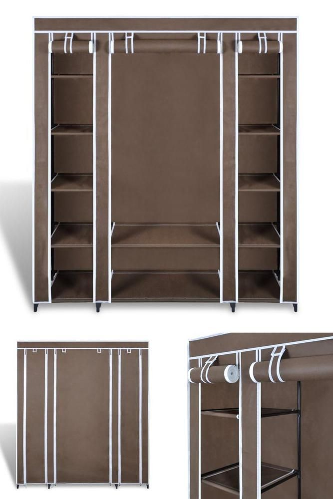 Brown Fabric Cabinet Clothes Shoes Closet Wardrobe Camping Bedroom Storage Unit