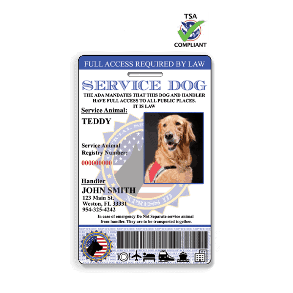 Service Dog Id Card Free Access To Animal Registry Xpressid Dog Id Emotional Support Dog Emotional Support Animal