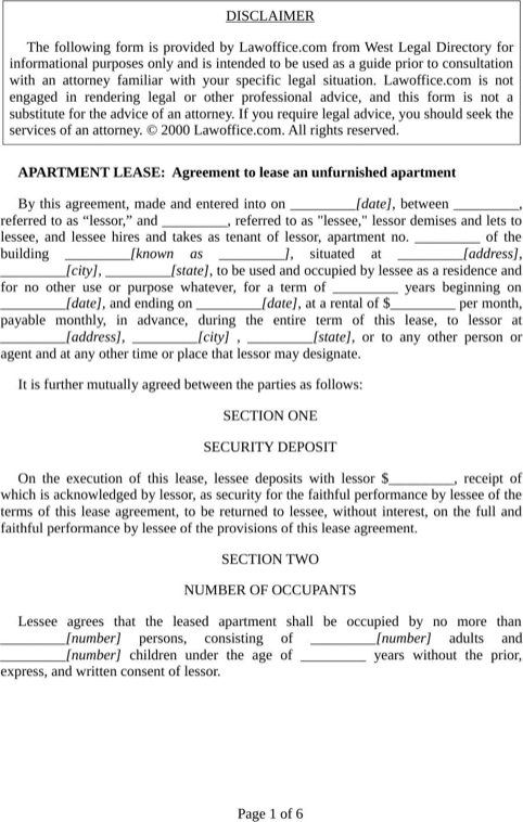 Apartment Lease Application  TemplatesForms