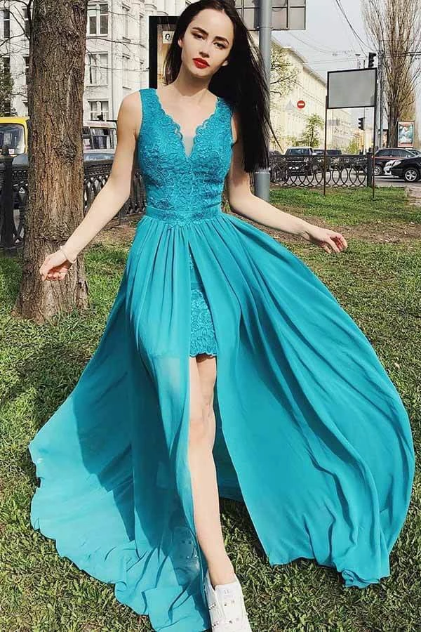 V-Neck Turquoise Chiffon Prom Party Homecoming Dress with ...